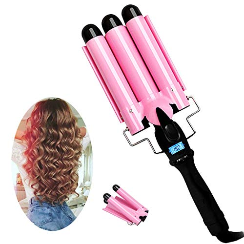 3 Barrel Curling Iron with LCD Temperature Display - 1 Inch Ceramic Tourmaline Triple Barrels, Ceramic Hair Crimper Hair Waver Hair Curlers Hair Curling Wand for Deep Waves Suit for All Hair Style