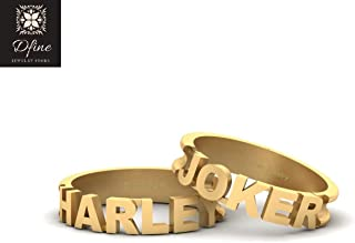 Batman Theme Super Villain Joker and Harley Quinn Matching Wedding Band Set For Couple