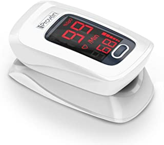 iProven Oxygen Saturation Monitor - Finger Pulse Oximeter - on Fingertip Measure O2 - incl. Batteries, Case and Lanyard iProvèn OXI-27 White