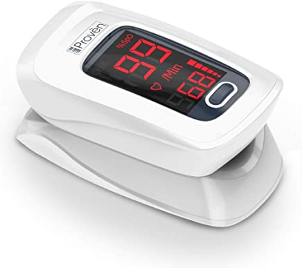 Pulse Oximeter Fingertip - iProven OXI-27 White - Oxygen Monitor with Heart Monitor -