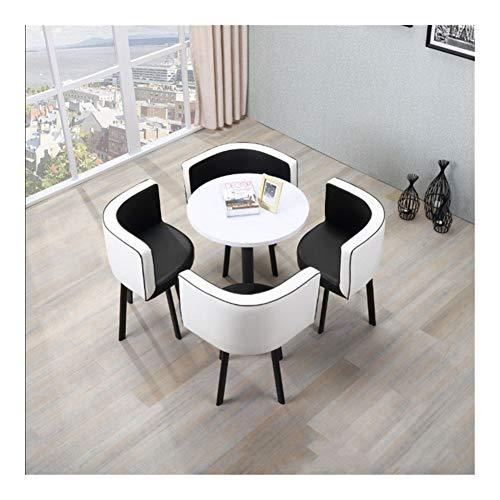 Qilo 5 Piezas de café Asiento del sofá de la Vendimia Redonda Moderna Negociación Inicio Presidente Tabla de combinación Simple recepción del Cuero del Ocio Oficina Salón (Color : White+Black)