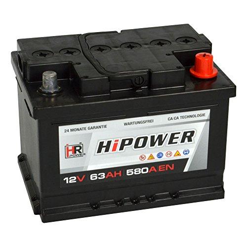 HR HiPower Autobatterie 12V 63Ah 580A/EN Starterbatterie ersetzt 44Ah 45Ah 46Ah 50Ah 60Ah 62Ah 65Ah