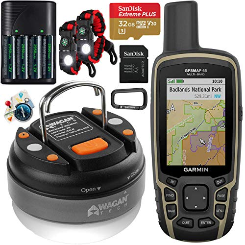Garmin GPSMAP 65 Handheld Outdoor GPS Navigator with U.S. & Canada Maps GNSS Satellite Multi-Band Rugged Bundle w Deco Gear Emergency Bracelet 2pk + Camping LED Lantern + Rechargeable AA Battery Kit
