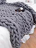 Chunky Knit Blanket, FITNIUBI Cable Knit Chunky Chenille Blanket, Handmade Knit Blanket, Arm Knit Blanket, Chunky Giant Knit Throw Blanket for Bed Chair Sofa Home Decor,Grey 47' x60 (Dark Grey)