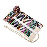 Colorida bolsa de lápiz, 72 agujeros, estuche para bolígrafos, estuche, Roll Up Pencil Pouch, suministros para artistas, bolsa para lápices de colores para pintar, escribir, dibujar, colorear, dibujar