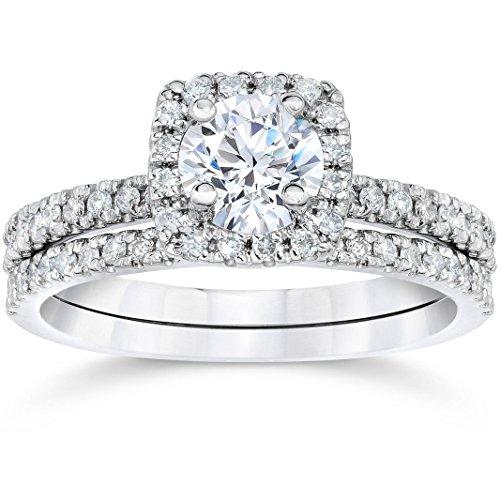 5/8 Carat Cushion Halo Diamond Engagement Wedding Ring Set White Gold - Size 7