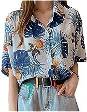 [ShuMing]レディース 半袖 アロハシャツ 花柄 ブラウス ゆったり プリント ファッション ハワイシャツ ビーチウェア レトロ トップス リゾート 旅行 夏