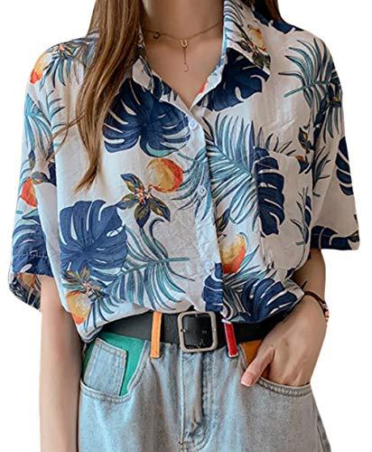 [ShuMing]レディース 半袖 アロハシャツ 花柄 ブラウス ゆったり プリント ファッション ハワイシャツ ビーチウェア レトロ トップス リゾート 旅行 夏(16白)