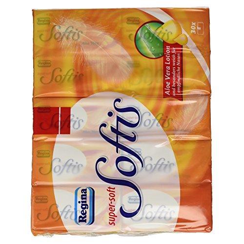 Regina Softis Taschentücher super-soft mit Aloe Vera Lotion, 4-lagig, 30 Stück