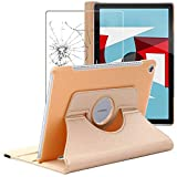 ebestStar - kompatibel mit Huawei MediaPad M5 10.8 Hülle Tablet 10.8 Rotierend Schutzhülle Etui Ständer, Rotating Hülle Cover, Gold + Panzerglas Schutzfolie [M5 10.8: 258.7 x 171.8 x 7.3mm, 10.8'']
