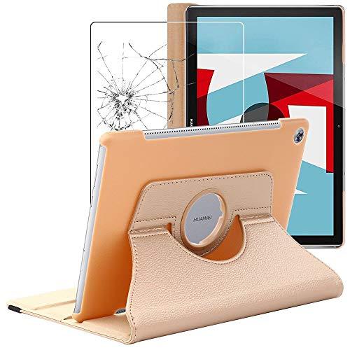 ebestStar - Funda Compatible con Huawei MediaPad M5 10.8 Carcasa Cuero PU, Giratoria 360 Grados, Función de Soporte, Dorado +Cristal Templado Pantalla [M5 10.8: 258.7 x 171.8 x 7.3mm, 10.8'']