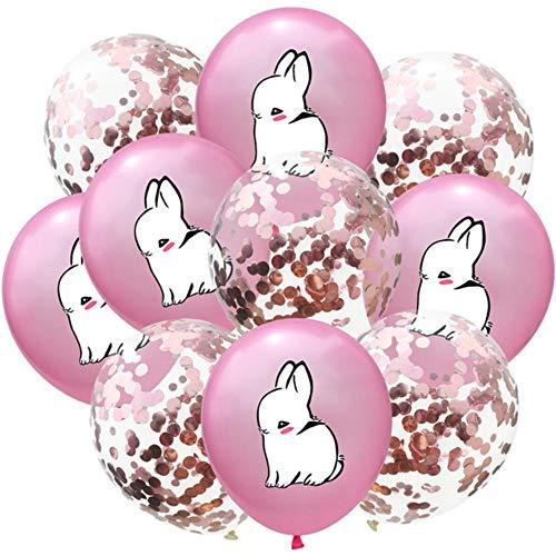 DIWULI, 10 Stück Hase und Konfetti Luftballons, süße Latex-Ballons, Ballon-Set Rose-Gold, Geburtstags-Ballons, Latex-Luftballons Geburtstag, Kindergeburtstag, Motto-Party, Dekoration, Geschenk-Deko