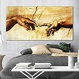 TBWPTS Wandmalerei Leinwand Gemälde Schaffung Von Adam Hand Von Gott Religion Leinwand Malerei Berühmte Malerei Kopie Von Michelangelo Sistine Kapelle Fresken Wand Kunst