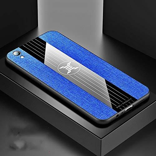 Stoßfeste TPU Tasche für Smartphone Ror Oppo R9 Plus-Stitching-Tuch textue Stoß- TPU-Schutzhülle (schwarz) (Farbe : Blue)