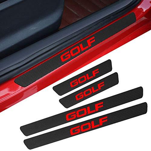 L&U 4 Stücke Carbon Fiber Einstiegsleisten Schutz Reflektierend Aufkleber Kratzschutz Pedal Schwelle Abdeckung Für Volkswagen Zubehör,Golf
