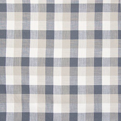 Grey Gray Plaid Check Houndstooth Woven Linen Upholstery Fabric by the yard