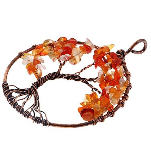 Desconocido Generic Colgante de Piedras Preciosas Envuelto en Alambre de Cobre Vintage Tree of Life para Hacer Joyas de Collar - Naranja