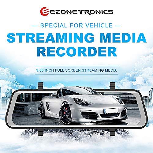 Ezonetronics 24,6 cm Full Touch Screen Streaming Media Spiegel Dashcam Recorder 170° Super Weitwinkel, blendfrei, HD 1080P