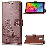 LG Q7 Hülle, SATURCASE Lucky Clover PU Lederhülle Magnetverschluss Flip Brieftasche Handy Tasche Schutzhülle Handyhülle Hülle mit Standfunktion & Kartenfächer für LG Q7/LG Q7 Plus/LG Q7α (Braun)