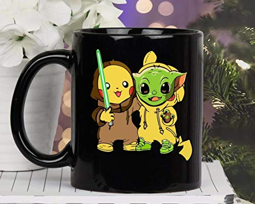 The Mandalorian ba-by y-o-d-a Pokemon Pikachu Mug Mug With Handle, Insulated Ceramic Reusable Coffee Cup, Coffee Travel Mug