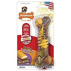 powerful Nylabone Flavor Frenzy Dura Power Chew Philly Cheesesteak Bone-flavored chewing toys for dogs, wolves, …