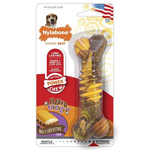 Nylabone Jouet dentaire à mâcher résistant Dura, os texturisé, goût bœuf et fromage, pour les chiens de taille moyenne (jusqu'à 16kg), Chiens à mâchouillage puissant/extrême