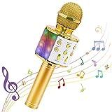 Microphone Sans Fil Karaoké, Ankuka Microphone Bluetooth 4 en 1 Portable Lecteur Karaoké avec Lumières LED de Danse, pour Fête Chanter Idée Cadeau Enfants (Or)
