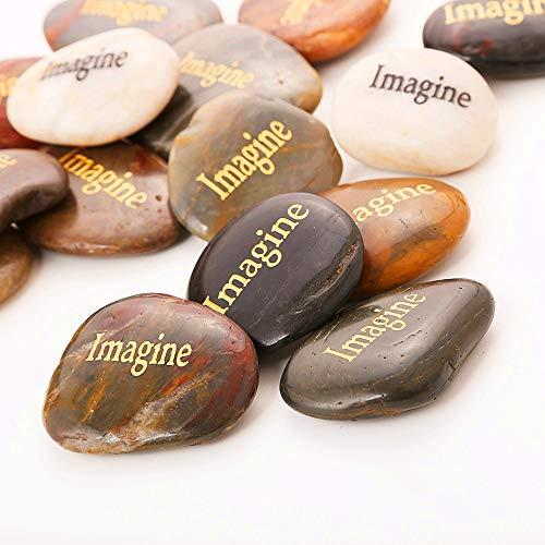 50PCS Imagine RockImpact Imagine Gifts Encouragement Stones Engraved Inspirational Stones Energy Zen Healing Balancing Inspiring Prayer Gifts Bulk Wholesale Imagine Believe Achieve Rock, 2-3 Each