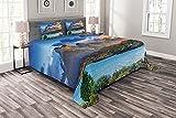 ABAKUHAUS Bunt Tagesdecke Set, Pehoe See-Landschaft Bild, Set mit Kissenbezügen Weicher Stoff, 220 x 220 cm, Azurblau & Multicolor