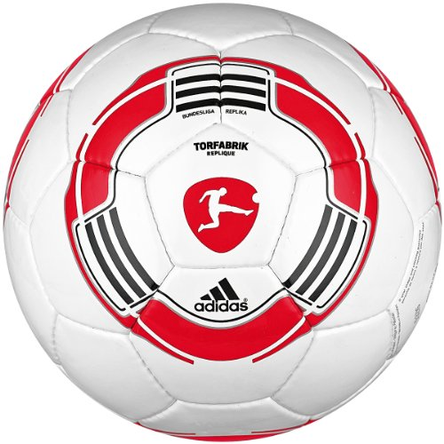 Original adidas Fussball 2010 DFL Torfabrik Replique weiss/rot, Größe:4