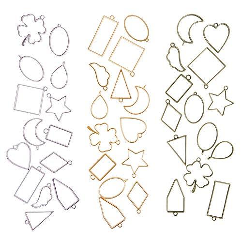 WXLAA 42 colgantes con forma de luna, marcos vacíos para collar, pendientes, pulsera de resina para joyas hechas a mano