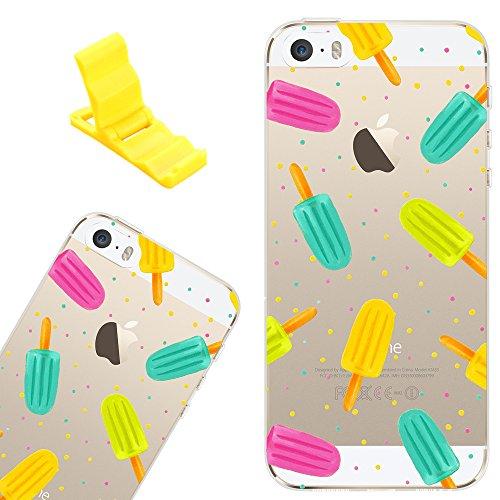 Cover per iPhone 5s, SXUUXB Chiaro Morbido Silicone Pelle Custodia, Cute Cartoon Cristallo Chiaro protettivo Case Shell per Apple iPhone 5/5S/SE Popcorn colorato + 1 x Bracket libero (Colore Casuale)