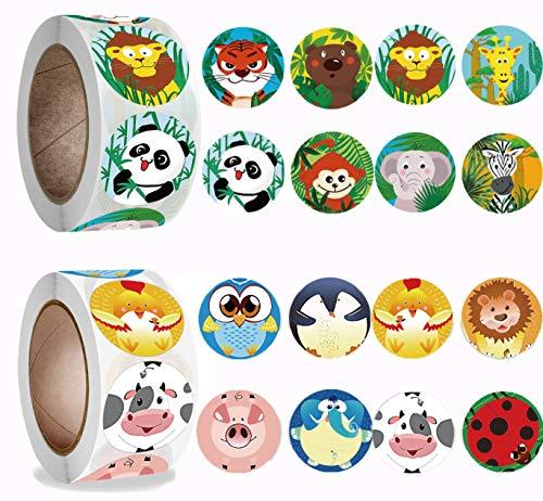 Animal Stickers,Tier Belohnungsaufkleber 1000stk Kinder Tier Aufkleber Rewards Stickers Runde Kraft, Weihnachten & Geschenksticker Geschenk-Verpackung Aufkleber
