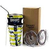 Smart Cooler 30 Oz. Sweat Free Ultra-Tough Double Wall Stainless Steel Tumbler Cup with Leak-proof Heavy Duty Tumbler Lids (Slide Lid & Flip Lid), Straw, & Cleaning Brush - Pineapple