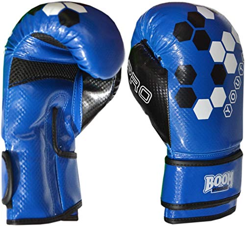 BOOM Prime Kinder Boxhandschuhe 4oz 6oz 8oz Maya Leder Sparring Boxsack MMA Muay Thai Training Punch Fausthandschuh Blau Grün - Blau, 6oz