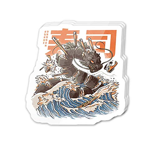 Uitee Store Cool Sticker (3 pcs/Pack,3x4 inch) Great Sushi Dragon Anime Manga Japanese Art Stickers for Water Bottles,Laptop,Phone,Teachers,Hydro Flasks,Car