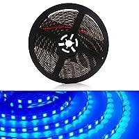 YongMing LEDテープライト ブルー 300連 5m 防水 車内 屋内外照明 間接照明 装飾用 黒ベース 12V 切断可能 1個