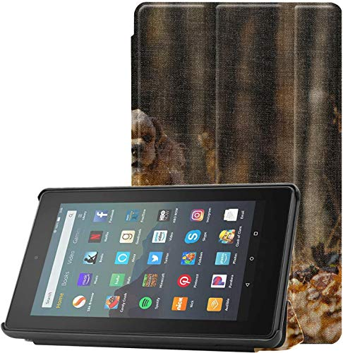 All-New Kindle Fire 7 Tablet Case (9th Generation, 2019 Release) Slim Fit Pu Leather Standing American Cocker Spaniel Runs Autumn Forest Fire 7 Tablet Standing with Auto Wake/slee