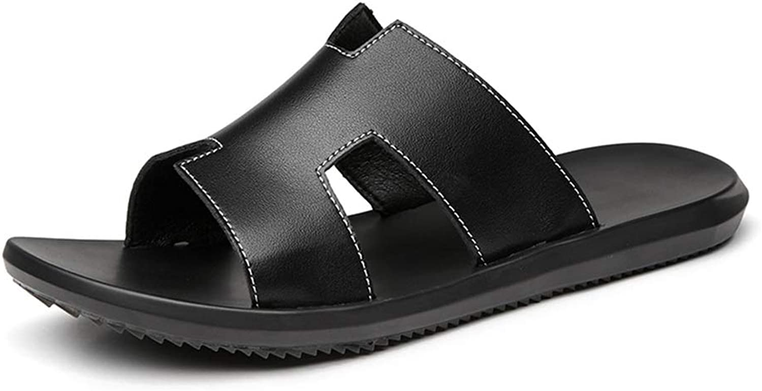 Men's Sandals Summer Beach Casual Women's shoes Leather Thong Slippers (color   113-Black, Size   6.5 D(M) US)