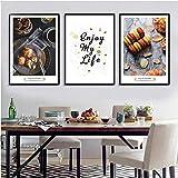 Cartel moderno de postre de pastel Disfrute de la vida Lienzo Pinturas Decoración de la cocina Arte de la pared Imágenes Comedor Decoraciones para el hogar 40x60cmx3 sin marco