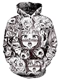 Fromdream Ahegao Sweatshirt Unisex Otaku Anime Hoodie 90s 3D Printed Hooded Pullover Soft Autumn Clothes with Big Pocket Hoodie-2, Small / Medium