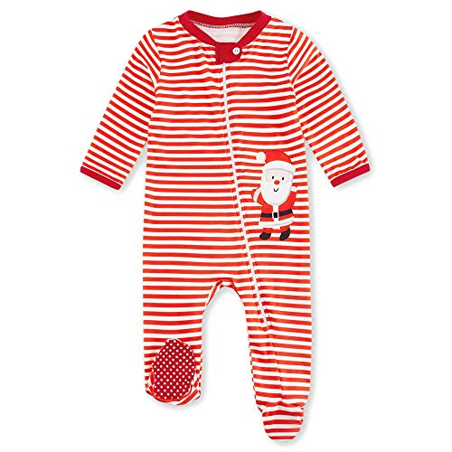 UNIFACO My First Christmas Sleeper Red White Striped Pajamas Baby Footed Sleepwear Santa Claus Onesie Winter Jumpsuit for Holiday 3-6 Months