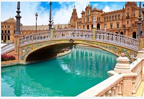 ZZXSY Adulto Puzzle 1000 Piezas Sevilla Sevilla Plaza De España Puente Andalucía España Plaza Adecuado para La Decoración del Hogar.