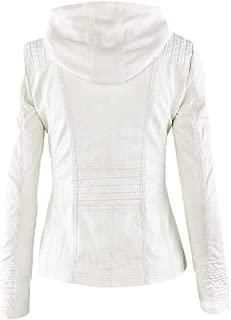 Mogogo Womens Waterproof Zip Up Faux Leather Top Coat Hooded Parka Jackets