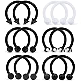 SCERRING 6 Pairs 16G 10mm Stainless Steel Nose Horseshoe Hoop Rings Eyebrow Lip Ear Tragus Cartilage Daith Septum Retainer Body Piercing Jewelry Clear CZ Black