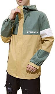 Men's Jacket, Loose Hooded Printed Jacket Full Zipper Retro Tooling Coat Outdoor Climbing Mountain Windproof Warm Sports Outwear (Color : Khaki, Size : M)