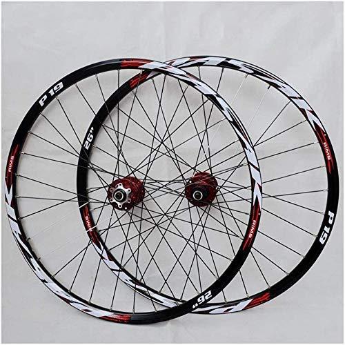 SLRMKK Set di Ruote per Mountain Bike, Ruota per Bicicletta da 29/26/27,5 Pollici (Anteriore + Posteriore) con Cerchio in Lega di Alluminio a Doppia Parete Freno a Disco a sgancio rapido 32H 7-11 v