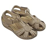 Deals Women Floral Splicing Wedges - Made from PU & Rubber - Features Comfortable Round Toe & Adjustable Hook & Loop Closure - Beach Summer Casual Slippers for Women, (Khakhi, Numeric_11)