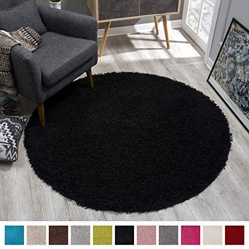 SANAT Teppich Rund - Schwarz Hochflor, Langflor Modern Teppiche fürs Wohnzimmer, Schlafzimmer, Esszimmer oder Kinderzimmer, Größe: 120x120 cm