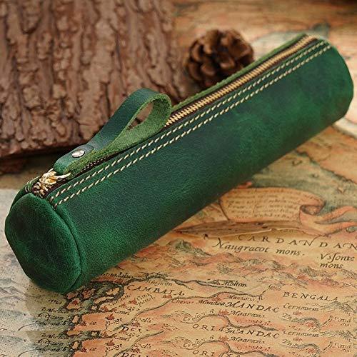 Astuccio per scuola in vera pelle Astuccio per penna vintage per ragazze Ragazzi Astuccio per cartucce nero con cerniera rotondaKit di cancelleria-Verde